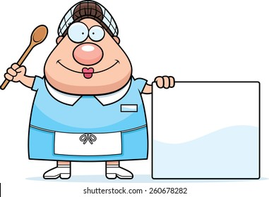 A cartoon illustration of a lunch lady with a sign.
