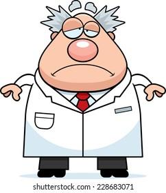 A cartoon illustration of a mad scientist looking sad.