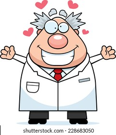 A cartoon illustration of a mad scientist ready to give a hug.