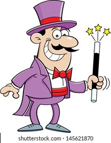 Cartoon illustration of a magician holding a magic wand.