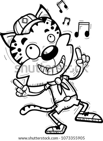 Cartoon Illustration Male Bobcat Scout Dancing Stock Vector Royalty