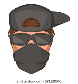 Cartoon illustration of man in black glasses and scarf on his face vector icon for web