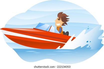 cartoon illustration of a man driving an speedboat.