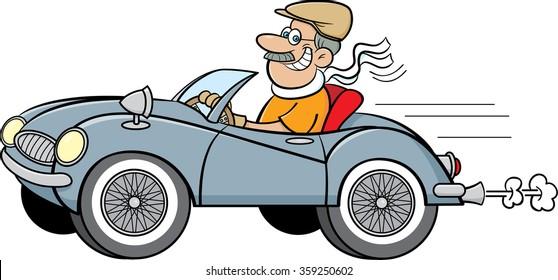 Cartoon illustration of a man driving a sports car.