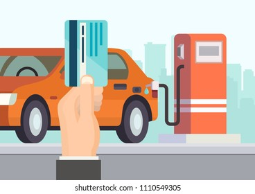 Cartoon illustration man hand holds credit card on background of gas station where car is filling with gasoline. Gasoline industry concept. Flat style. Vector.