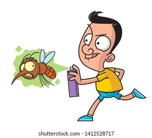 Cartoon illustration of a man killing the big mosquito with the insecticide spray