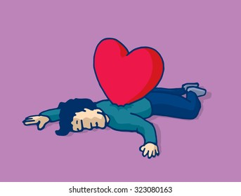 Cartoon illustration man lying on the floor heart stabbed on his back
