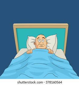 Cartoon illustration of a man on bed with eyes wide open for insomnia theme.