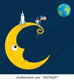 cartoon illustration of the man on the moon
