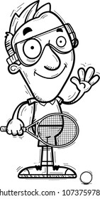A cartoon illustration of a man racquetball player waving.