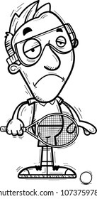 A cartoon illustration of a man racquetball player looking sad.