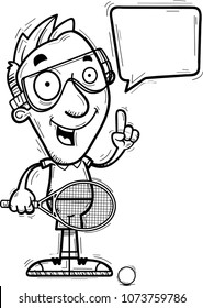 A cartoon illustration of a man racquetball player talking.