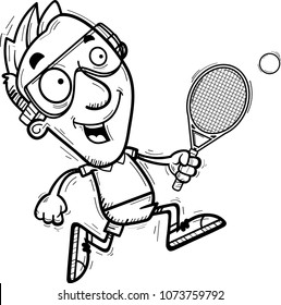 A cartoon illustration of a man racquetball player running.