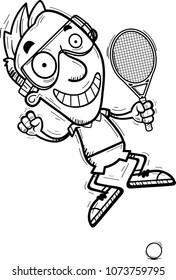 A cartoon illustration of a man racquetball player jumping.