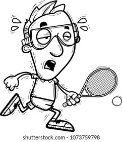 A cartoon illustration of a man racquetball player running and looking exhausted.