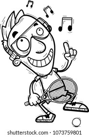 A cartoon illustration of a man racquetball player dancing.