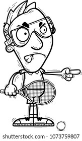 A cartoon illustration of a man racquetball player looking angry and pointing.