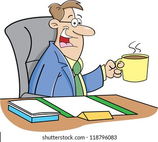 Cartoon illustration of a man sitting at a desk holding a coffee cup.