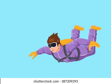 Cartoon illustration of a man sky diving