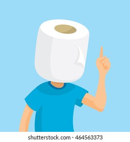 Cartoon illustration of man with toilet paper head