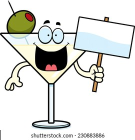 A cartoon illustration of a martini holding a sign.