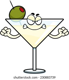 A cartoon illustration of a martini looking angry.