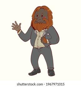 cartoon illustration of a mascot orangutan