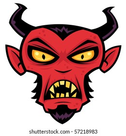 Cartoon illustration of a mean red devil character with horns, goatee, yellow eyes and fangs.