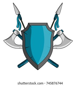 cartoon illustration -  medieval weapons, coat of arms, the crossed axe and blue shield and spear
