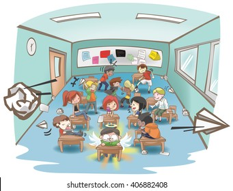 Cartoon illustration of a messy school classroom full of naughty and stubborn students but only one is studying hard like a white sheep in a group of black sheep concept. vector