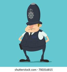 Cartoon illustration of metropolitan British police officer in traditional helmet