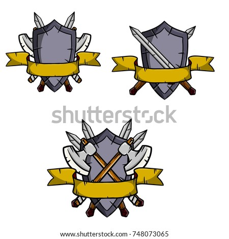 cartoon illustration middle ages weapons heraldic stock vector