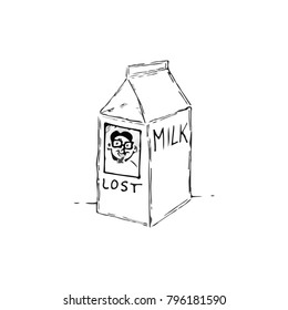 Cartoon illustration of a missing person advertisement on a milk cartoon.