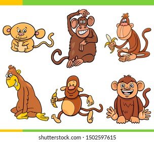 Cartoon Illustration of Monkeys and Apes Primate Animal Characters Set
