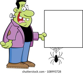 Cartoon illustration of a monster holding a sign