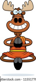 A cartoon illustration of a moose monk smiling and meditating.