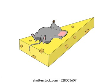 Cartoon illustration of mouse. Happy mouse lies on the large piece of cheese.