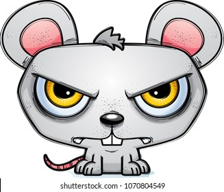 A cartoon illustration of a mouse looking mad.