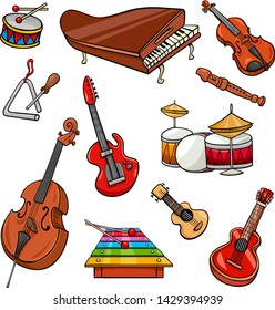 Cartoon Illustration of Musical Instruments Objects Clip Art Collection