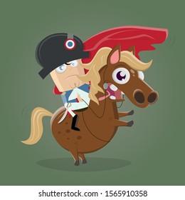 cartoon illustration of napoleon bonaparte riding on a horse