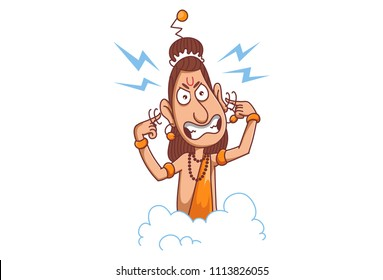 Cartoon illustration of narad muni closing own ear with hand. Angry illustration. Isolated on white background.