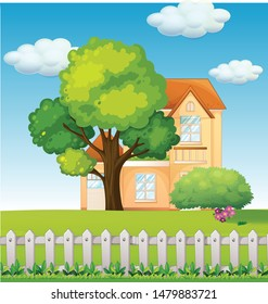 Cartoon illustration of natural landscape with a house and tree vector and illustration