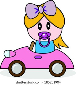 Cartoon illustration of a  newborn in car.