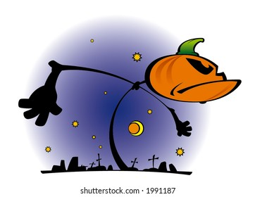 cartoon illustration of night halloween landscape with pumpkin and cemetery