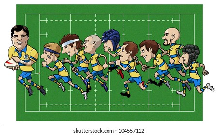 Cartoon illustration - Nine rugby players running - Grass field on the background