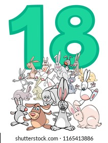 Cartoon Illustration of Number Eighteen and Rabbit Characters Group