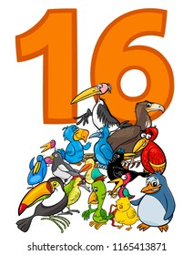 Cartoon Illustration of Number Sixteen and Bird Characters Group