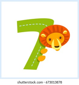 Cartoon illustration numbers with animals: number seven with a lion