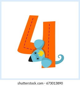 Cartoon illustration numbers with animals: number four with a mouse