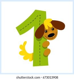 Cartoon illustration numbers with animals: number one with a dog